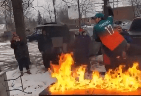 Bills Fan Catches a Dolphins Fan on Fire by Slamming Him on a Burning Table