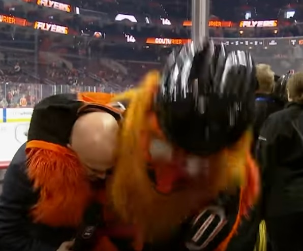 Gritty Wreaks Havoc on the Flames Broadcast