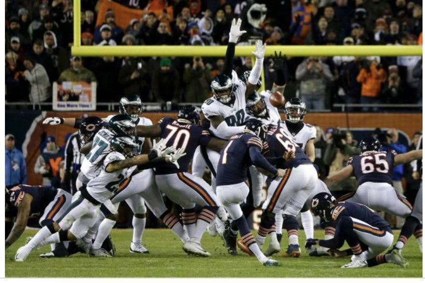 Cody Parkey's Game Winning Field Goal Attempt Was Partially Blocked