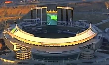 Aerial Footage Captures Mario Kart Game on Kauffman Stadium's Jumbotron