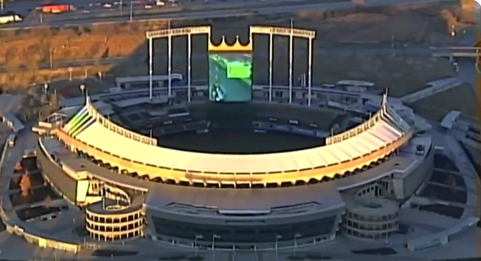 Aerial Footage Captures Mario Kart Game on Kauffman Stadium's Jumbotron