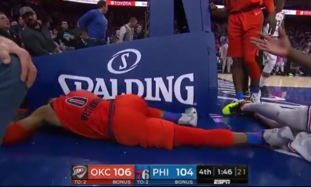 Joel Embiid Tackled Russell Westbrook Late in Thunder and Sixers Game