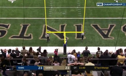 Greg Zuerlien Hits a 57-Yard Field Goal in Overtime to Send the Rams to the Super Bowl