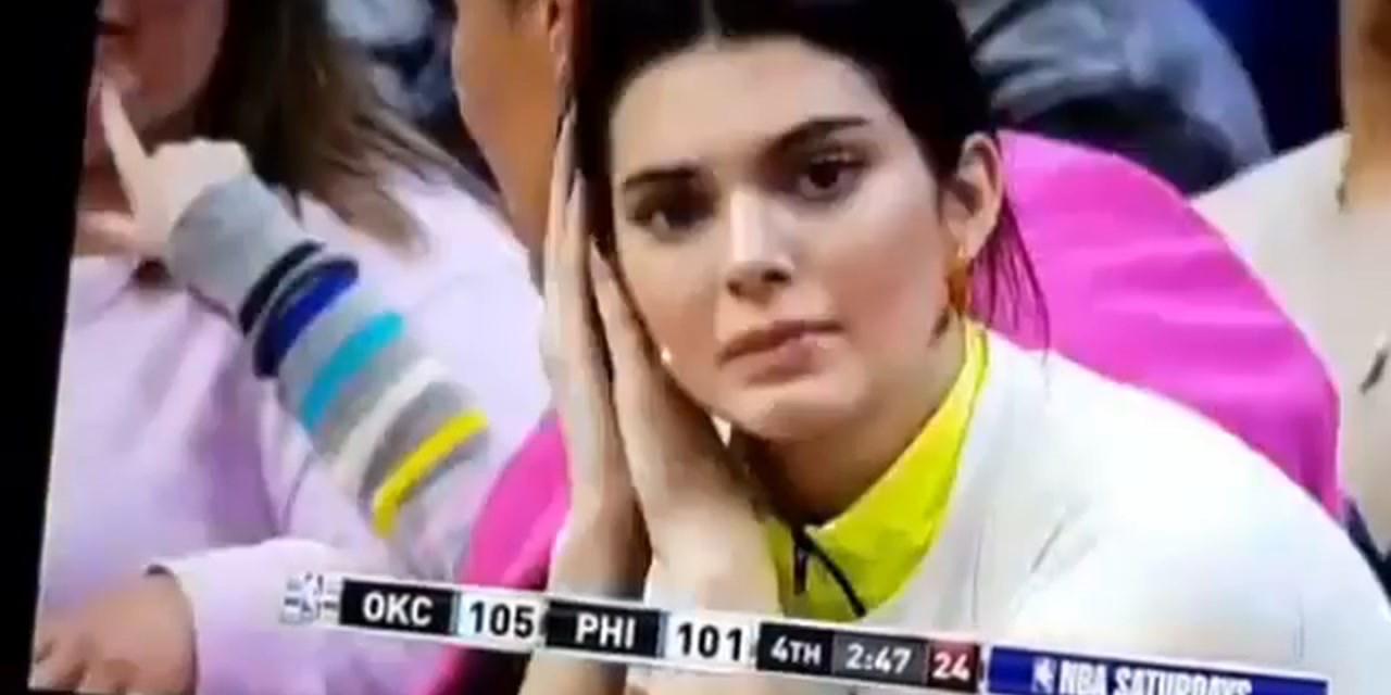 Kenall Jenner Looking Worried at Sixers Game
