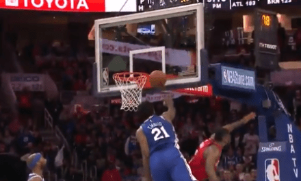 Joel Embiid Blocked a James Harden Shot and then Stared Him Down for the Cherry on Top