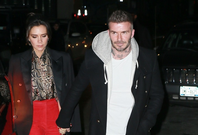 David and Victoria Beckham Arrive at Her Reebok Party