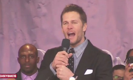 "Tom Brady Starts a ""We're Still Here"" Chant then Drops the Mic at Patriots Super Bowl Rally"