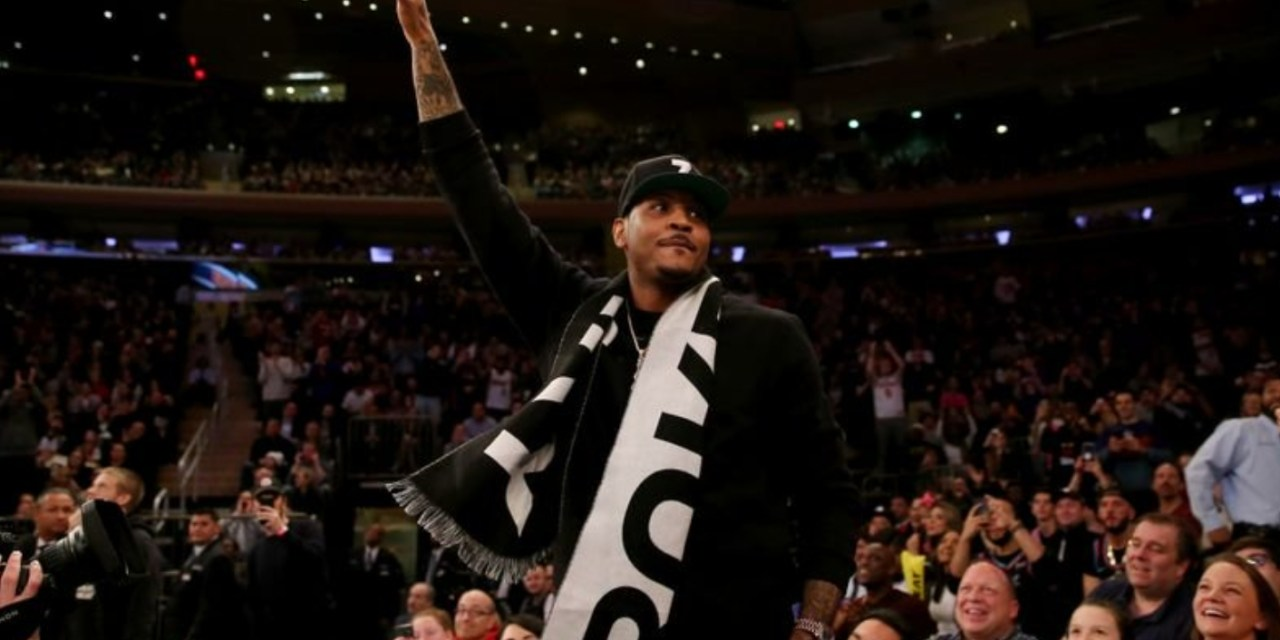Carmelo Anthony Makes an Appearance at Madison Square Garden to Watch Dwyane Wade Play