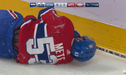 Canadiens' Victor Mete Took a Head-First Dive into the Boards