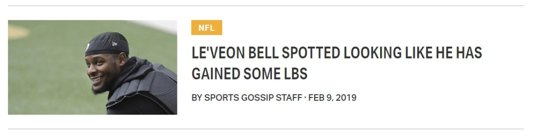Le'Veon Bell's Trainer Denies Report Of Massive Weight Gain - Sports
