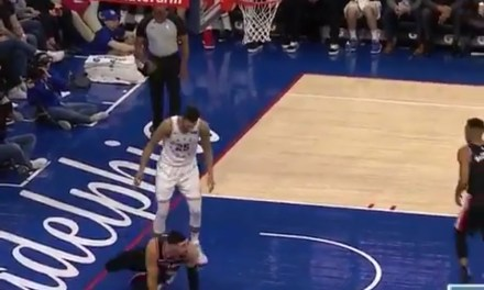 Enes Kanter and Mike Scott Had to Be Separated after Ben Simmons Knocked the Blazers Big Man Down