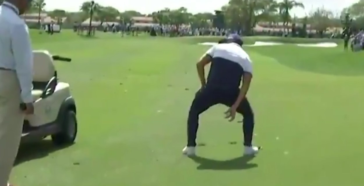 Rickie Fowler Makes Fun of the New Knee High Drop Rule in Golf