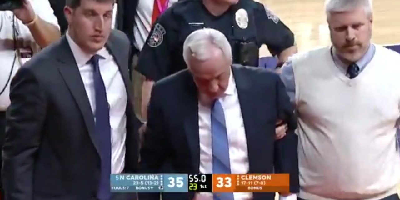 Roy Williams Collapsed at the End of the First Half During UNC and Clemson Game