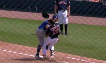 Josh Reddick Got Absolutely Crushed by Pete Alonso at First Base
