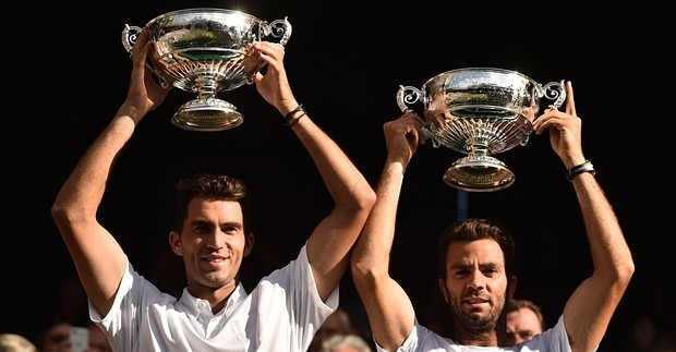 Jean-Julien Rojer and  Horia Tecau with their mens Double title