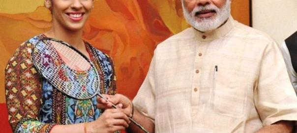 Saina Nehwal gifted her racquet to PM Modi