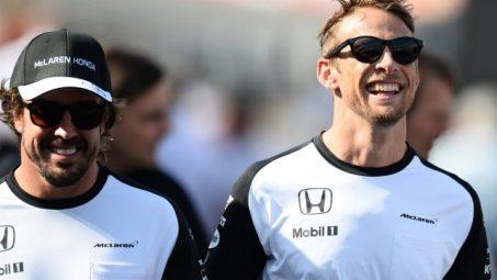 Fernando Alonso (L) and Jenson Button (R)
