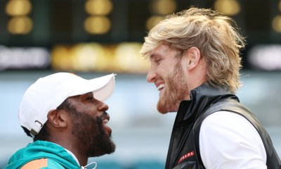 Floyd Mayweather and Logan Paul at a press conference ahead of their fight