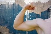 man showing arm