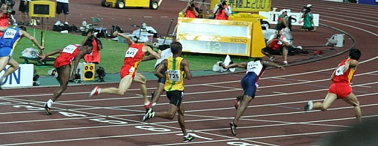 The finishing line of the men's 110 metres hurdles final - winner Xiang Liu is at the right (World Athletics Championships 2007 in Osaka). Photo by Eckhard Pecher.
