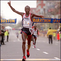 BOSTON- Men's marathon winner Moses Tanui at the finish. 4/20/98. Boston Globe Staff Photo by Jim Davis.