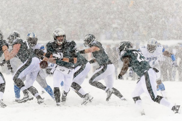 The Philadelphia Eagles hosted the Detroit Lions on December 8 in cold and snowy elements that could be a factor as well at Super Bowl XLVIII. Photo courtesy of Howard Smith/USA Today Sports