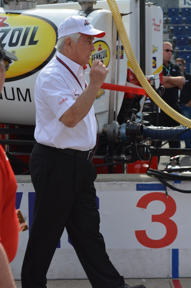 Motorsports legend Roger Penske was inspecting his team's cars before the race.