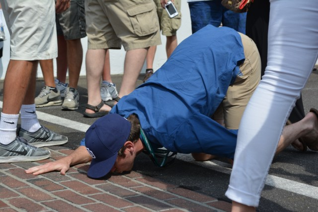 Kissing the bricks, an Indy 500 tradition.