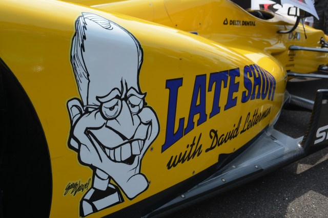 Letterman's team car featured a caricature of the late-night host.
