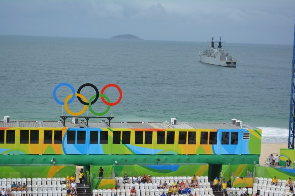 The Brazilian Navy has parked a vessel outside the beach volleyball venue.