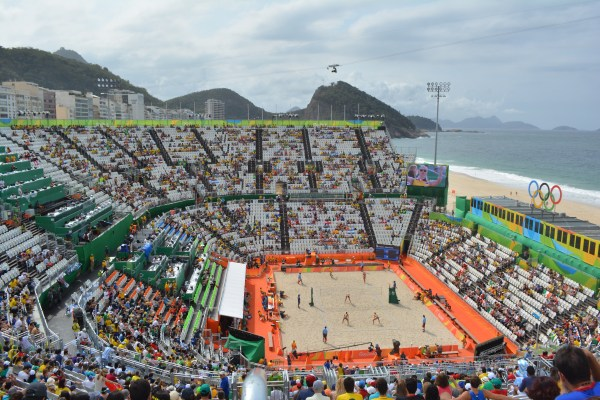 Views from the top of the beach volleyball venue.