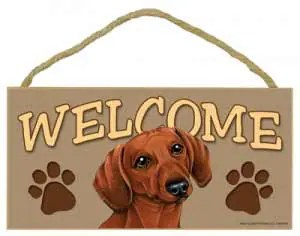 Red Dachshund Welcome Sign