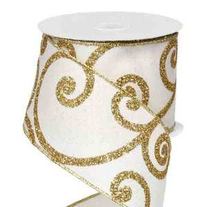 Gold and Cream Scroll Ribbon