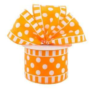 Orange White Polka Dot Stripe Ribbon