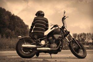 motorbike, helmet, road