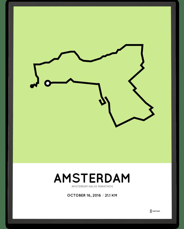 Bekend 2016 Amsterdam Half Marathon print – Sportymaps @QL09