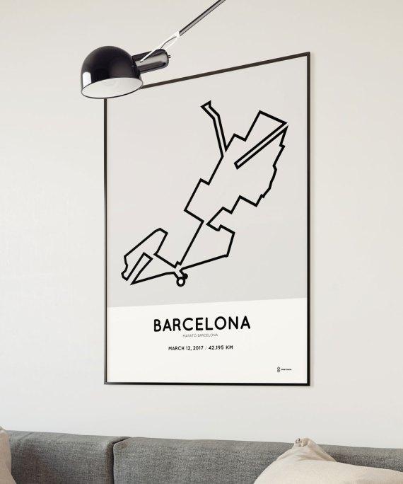 2017 barcelona marathon course poster