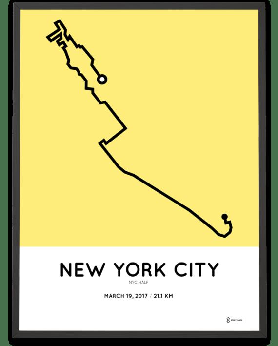 2017 New York City hal marathon course poster