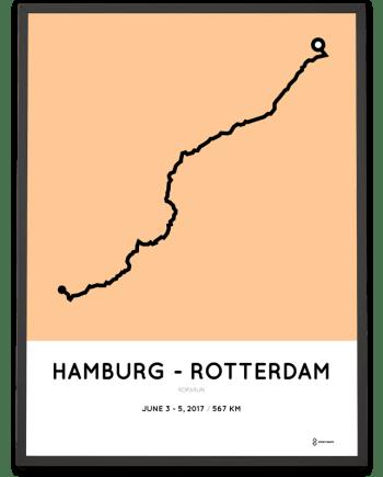 2017 Roparun hamburg naar rotterdam route print