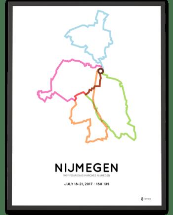 2017 Four Days Marches Nijmegen 160km course poster