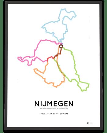2015 Nijmeegse Vierdaagse 200km parcours print