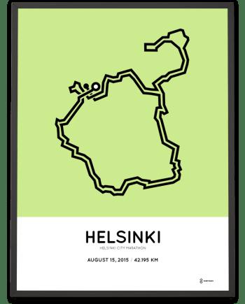 2015 Helsinki city marathon parcours poster