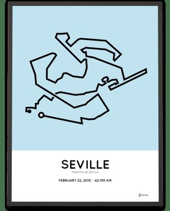 2015 Seville marathon course map poster