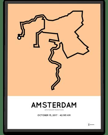 2017 Amsterdam marathon route poster