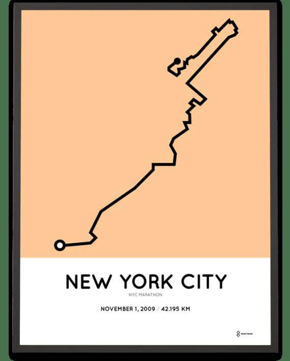 2009 NYC marathon course print