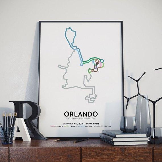 2018 Walt Disney world dopey challenge course poster
