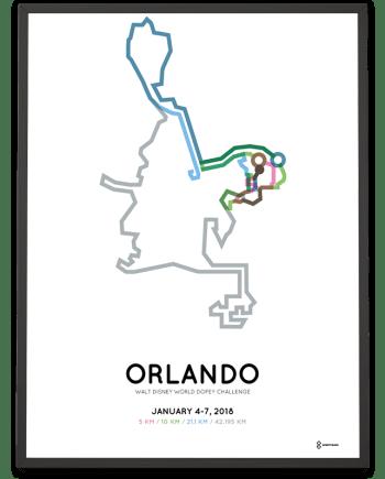 2018 Walt Disney World Dopey Challnege course poster