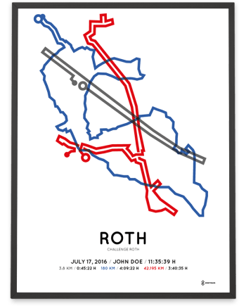 2016 Challenge Roth strecke map poster