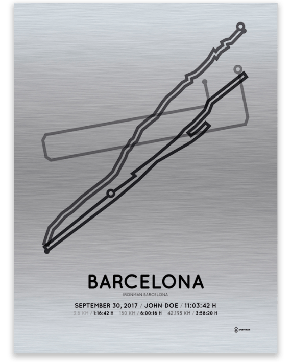 2017 Barcelona Ironman aluminum course map print