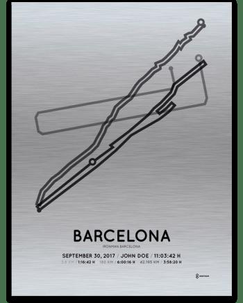 2017 Barcelona Ironman aluminum course map print